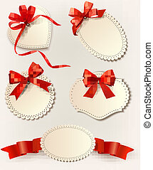 Set of beautiful cards with ribbons