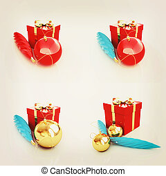 Set of Beautiful Christmas gifts. 3D illustration. Vintage style.