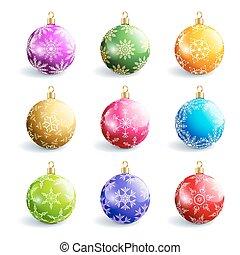 Set of beautiful colorful christmas balls isolated