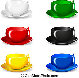 set of beautiful colorful cups