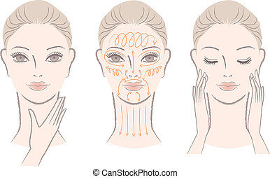 Set of beautiful, elegant woman massaging her face and neck, showing how to with massage lines.