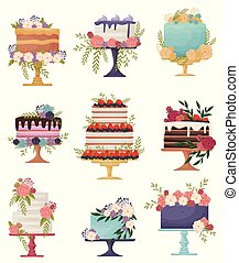 Set of beautiful festive cakes on a stand. Vector illustration on white background.