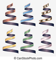 Set of beautiful festive colored ribbons. Vector illustration