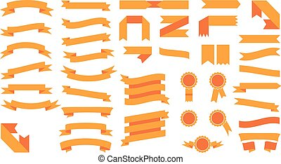 Set of beautiful festive colored orange ribbons. Vector illustration