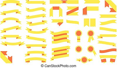 Set of beautiful festive colored yellow ribbons. Vector illustration