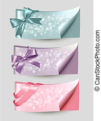 Set of beautiful Gift cards and banners with color gift ribbons Vector illustration.
