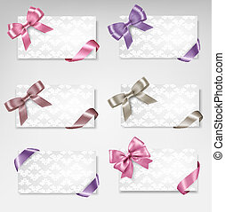 Set of beautiful gift cards with colorful gift bows with ribbons Vector
