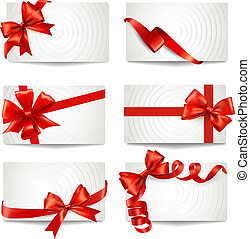 Set of beautiful gift cards with red gift bows with ribbons ...