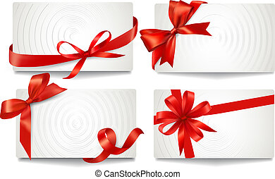 Set of beautiful gift cards with red gift bows with ribbons Vector