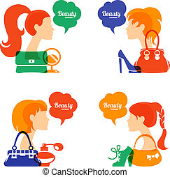 Set of beautiful girl silhouette with fashion icons. Shopping woman. Sale elegant stylish signs