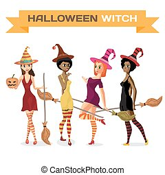 Set of beautiful girls witches in dress, hat and stockings with a broom and pumpkin. Vector flat cartoon illustration isolated on a white background