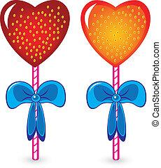 Set of beautiful heart shaped candies. Illustration on white...