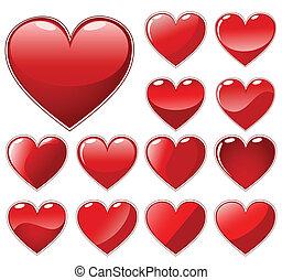 Set of beautiful hearts