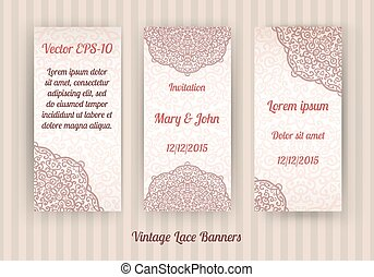 set of beautiful invitation cards