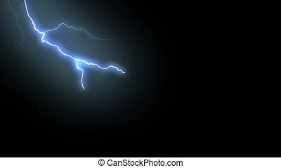 Set of Beautiful Lightning Strikes on Black Background. Electrical Storm. 17 Videos of Blue Realistic Thunderbolts in Loop Animation