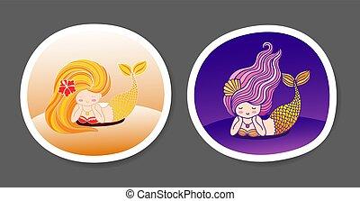 Set of beautiful little mermaids on a purple, violet gradient background.