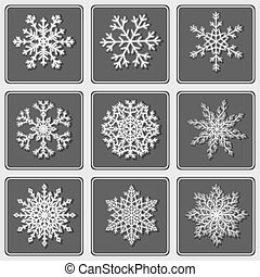 Set of beautiful paper snowflakes.