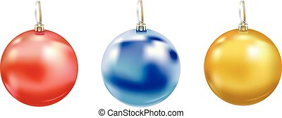 Set of beautiful realistic New Year 3D glassy balls with reflects isolated on white background. Traditional decoration for a Christmas tree. Vector illustration.