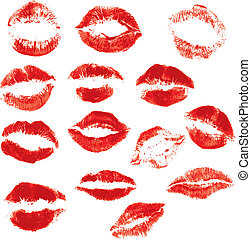 Set of beautiful red lips print on isolated white background...