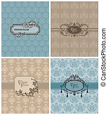 Set of Beautiful Retro Cards - for invitation, greetings, wedding in vector