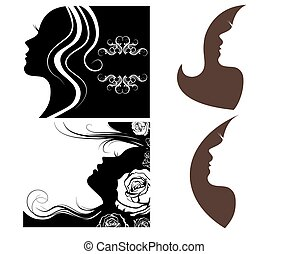 set of beautiful silhouettes of women