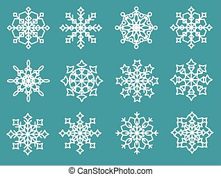 Set of beautiful snowflakes on a blue background.