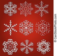 Set of beautiful snowflakes vector illustration