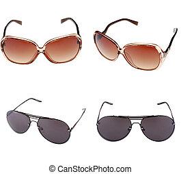 Set of beautiful sunglasses isolated on white background.