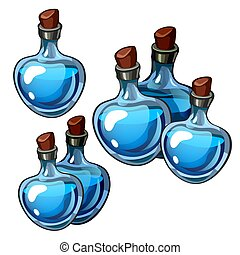 Set of beautiful vintage bottles blue glass isolated on white background. The secrets of beauty and longevity, perfumes. Vector illustration.