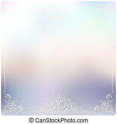Set of Beautiful vintage pattern on unfocused colorful background.