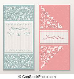 Set of beautiful wedding invitations.
