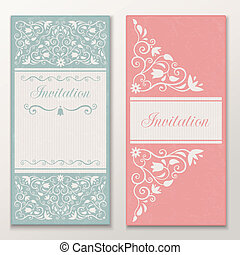 Set of beautiful wedding invitations.