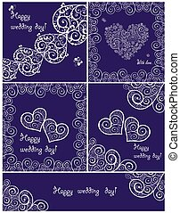 Set of beautiful wedding violet cards with lacy design