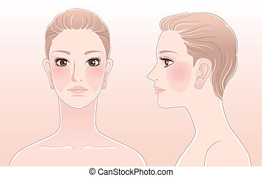 Portrait of Beautiful woman, front and side view. Isolated. File contains Blend tool.