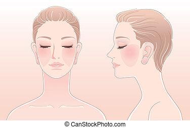 Set of Beautiful woman portrait