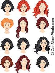 Set of beautiful women portraits