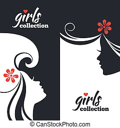 Set of beautiful women silhouettes. Girls collection banners