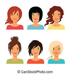 Set of beautiful young girls with various hair style.