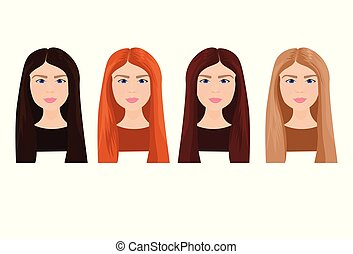 Set Of Beautiful Young Woman Faces With Long Hair In Different Colors Isolated On White Background