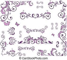 Set of beauty floral elements
