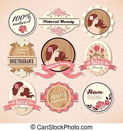 Set of beauty labels