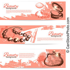 Set of beauty sketch banners. Vintage hand drawn vector ...