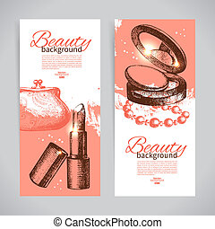 Set of beauty sketch banners. Vintage hand drawn vector...