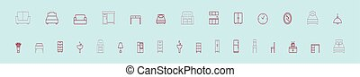 set of bed cartoon icon design template with various models. vector illustration isolated on blue background