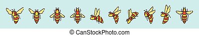 set of bee cartoon icon design template with various models. vector illustration isolated on blue background