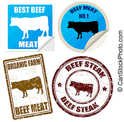 Set of beff meat labels and stamps on white, vector illustration