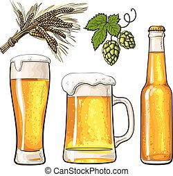 Set of beer bottle, mug and glass, malt, hop - Set of cold...