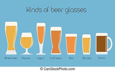 Set of beer glassware. Cool minimal flat vector illustration