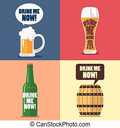 Set of beer icon with word drink me now