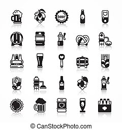 Set of beer icons with shadow